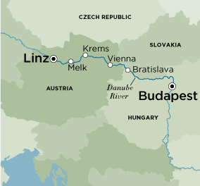 Itinerary map of Magnificent Christmas Markets (Budapest to Passau)