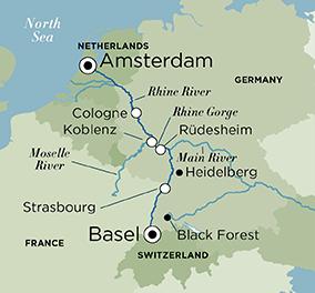 Itinerary map of Legendary Rhine (Basel to Amsterdam)
