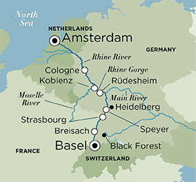Itinerary map of Splendors of the Rhine (Amsterdam to Basel)
