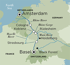 Itinerary map of Christmas Time on the Rhine (Basel to Amsterdam)