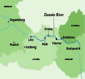 Itinerary map of Danube Serenade (Vienna (Wien) to Budapest)