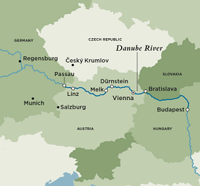 Itinerary map of Treasures of the Danube (Round Trip)