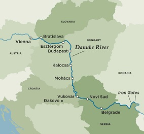 Itinerary map of Eastern Danube Discoveries (Round Trip)