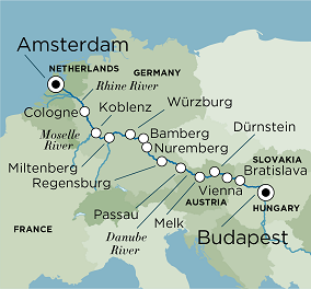 Itinerary map of Grand Europe (Budapest to Amsterdam)