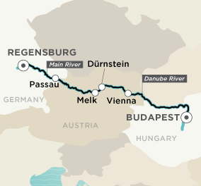 Itinerary map of Delightful Danube (Budapest to Regensburg)