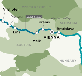 Itinerary map of Danube Christmas Markets (Round Trip)