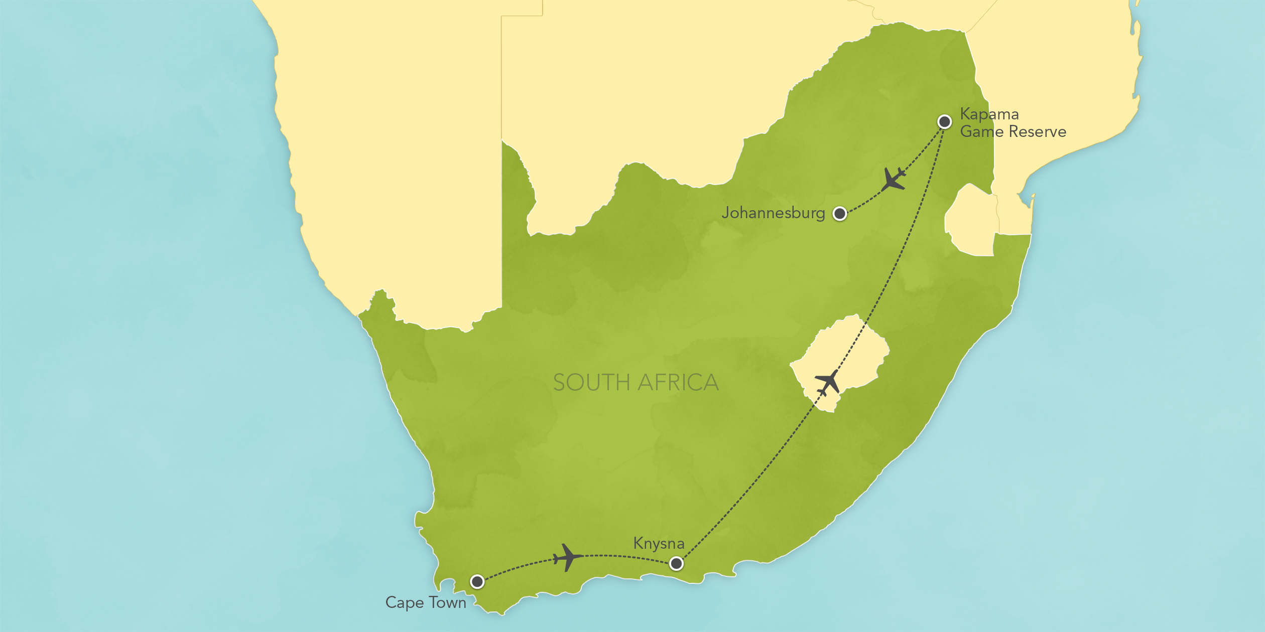Map for South Africa Safari: Cape Town, Knysna, Kapama Game Reserve 2019