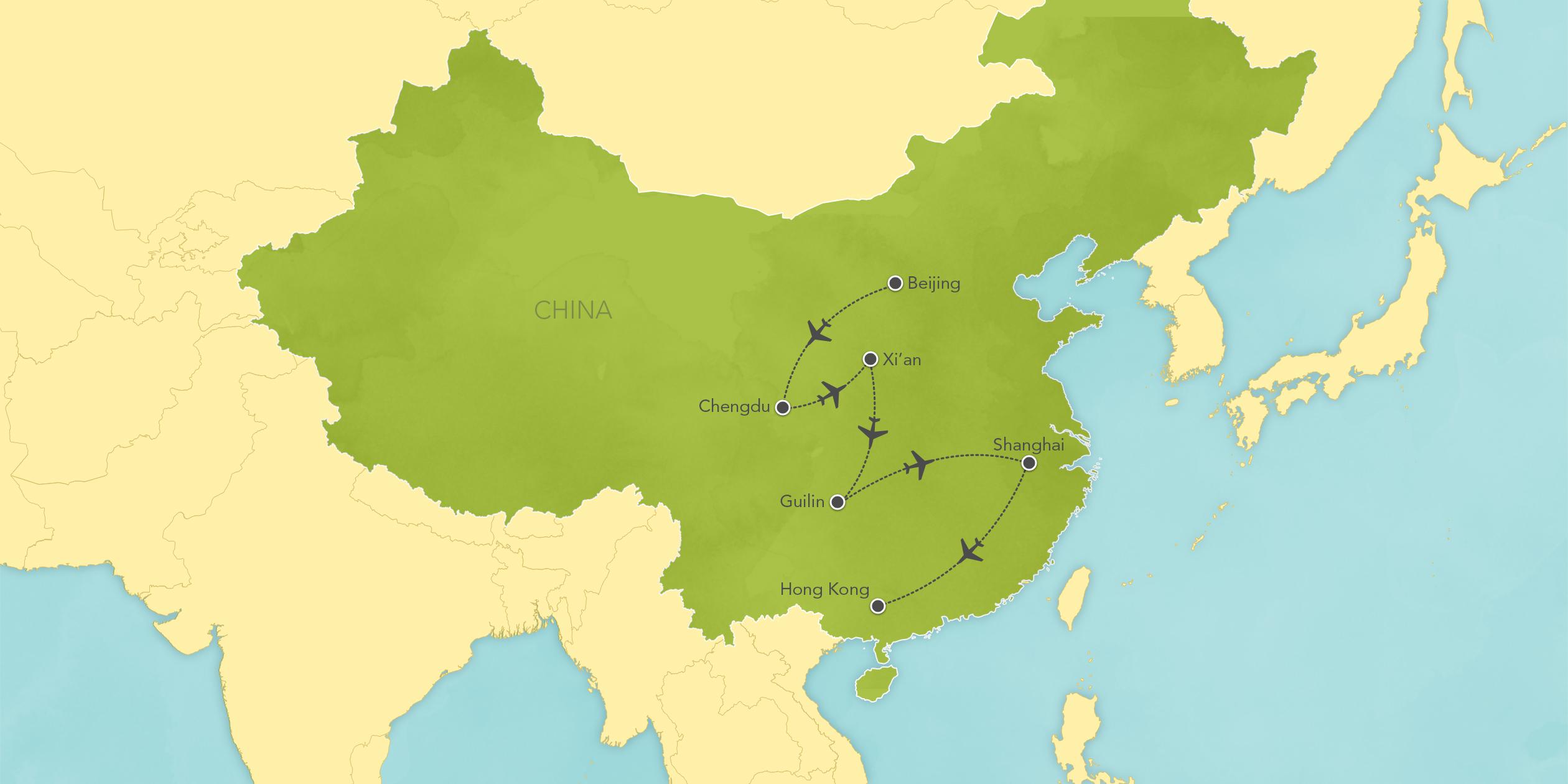 Itinerary map of China: Chengdu, Xi