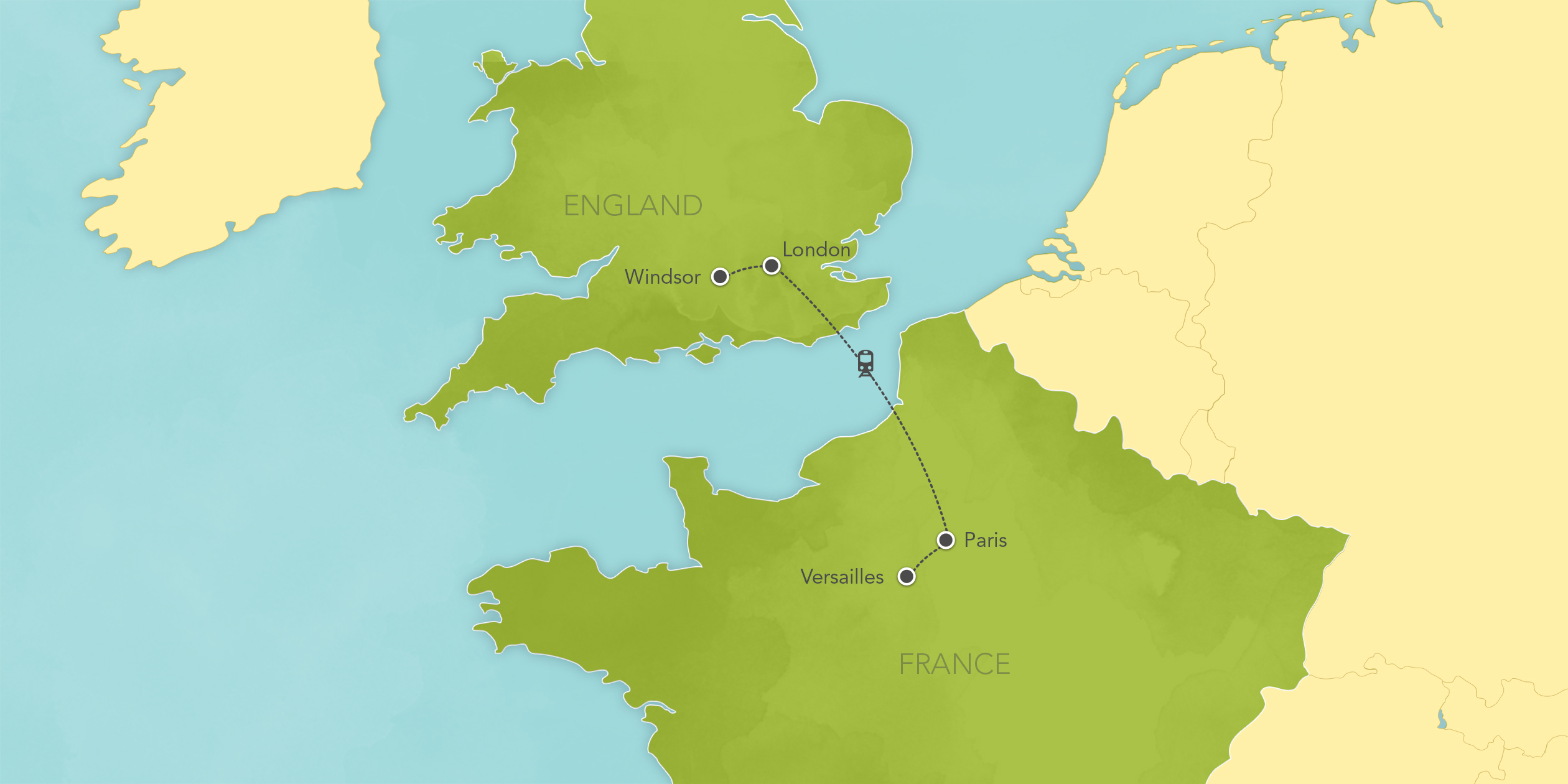 Itinerary map of England & France: London, Paris, Versailles 2019