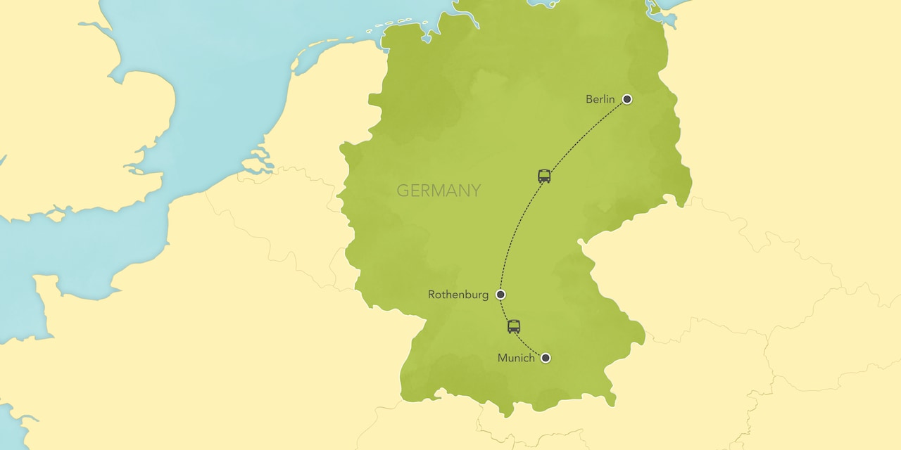 Itinerary map of Germany: Munich, Nuremberg, Rothenburg, Bamberg, Berlin 2019