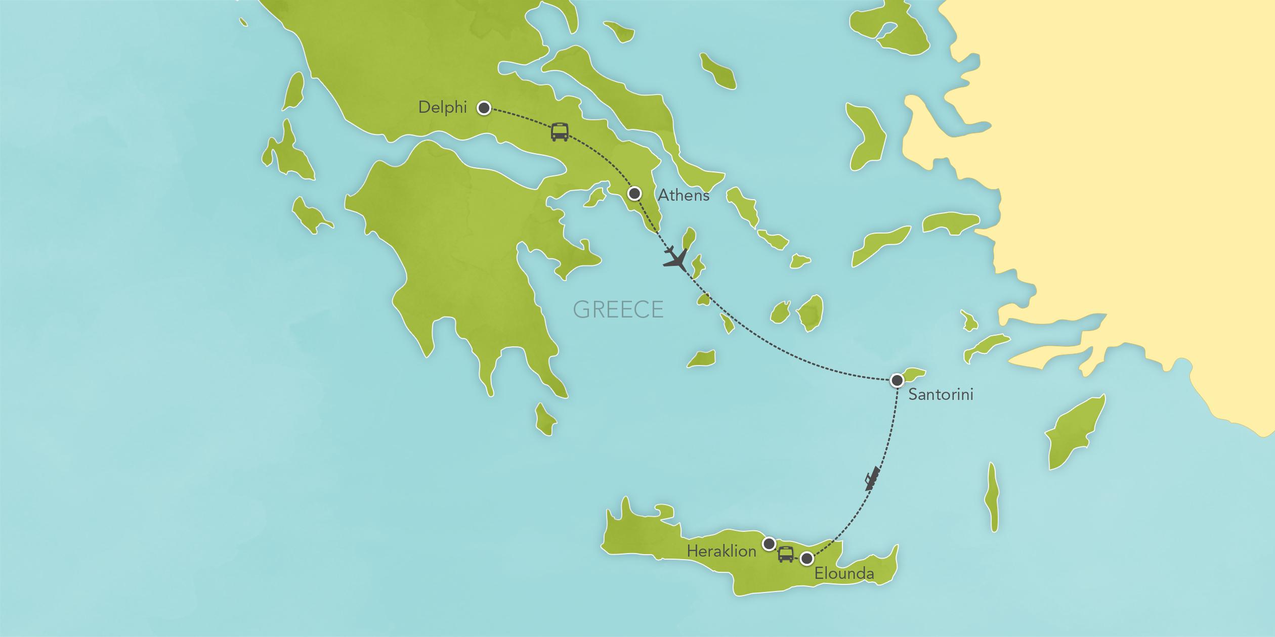 Itinerary map of Greece: Athens, Delphi, Santorini, Crete 2019