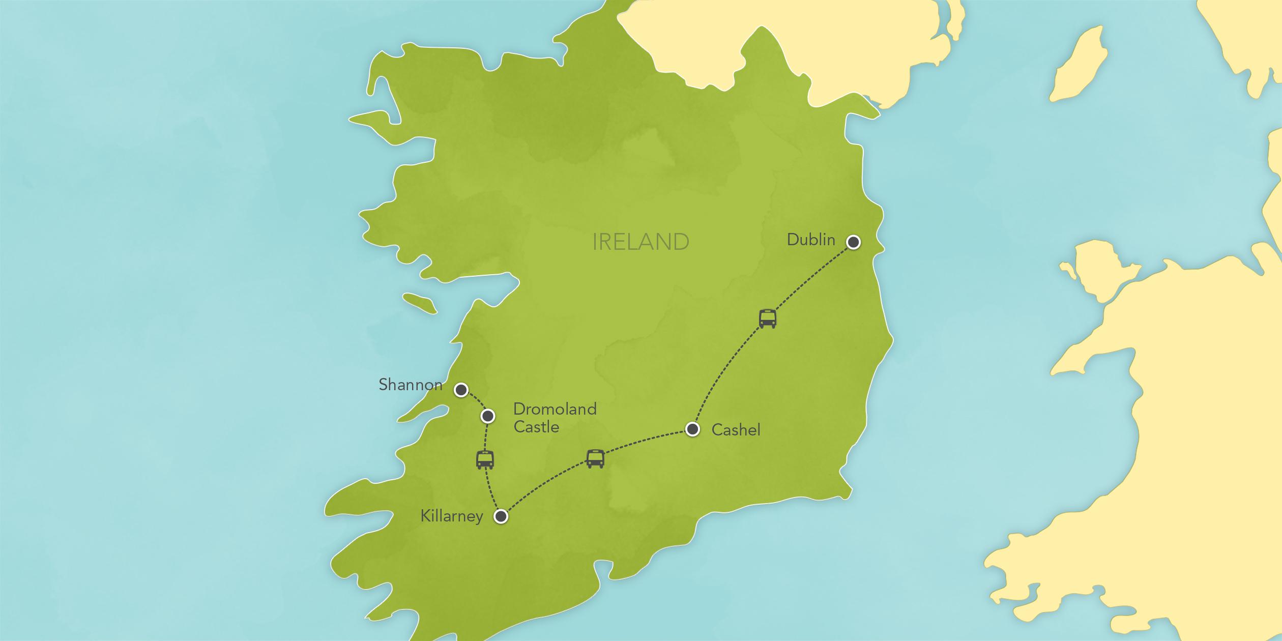 Itinerary map of Ireland: Dublin, Killarney, Blarney, Dromoland Castle 2017