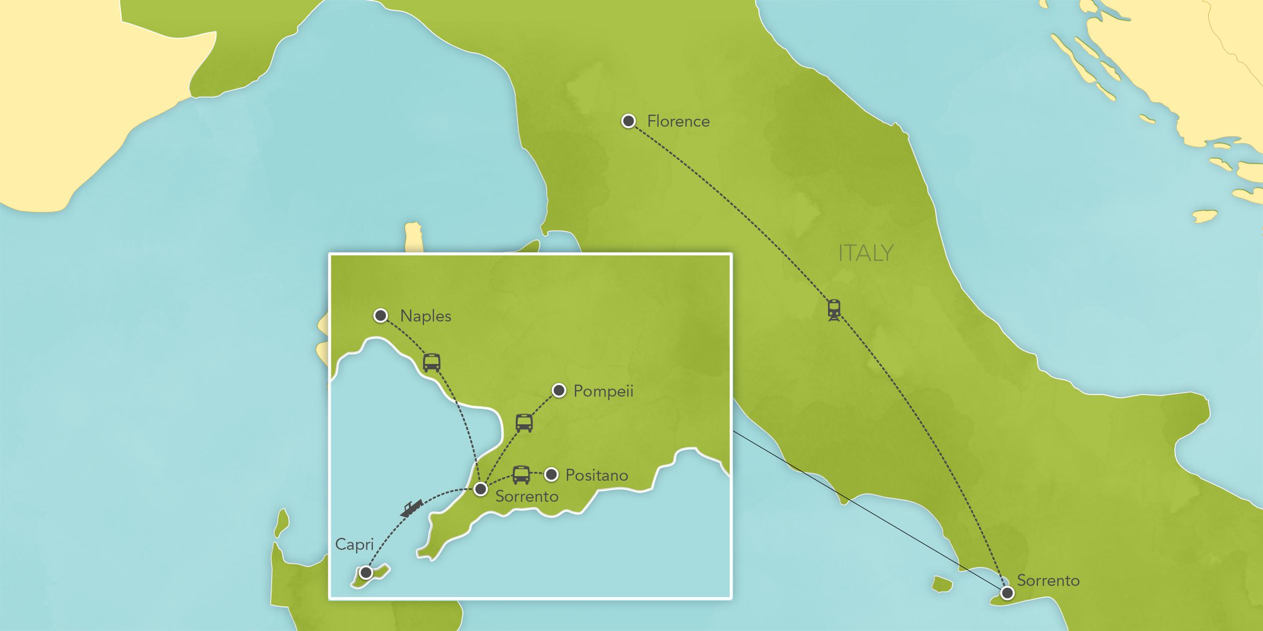 Itinerary map of Italy & Amalfi Coast: Sorrento, Positano, Amalfi, Capri, Naples, Florence, Tuscany, Lucca, Pisa, Siena 2019