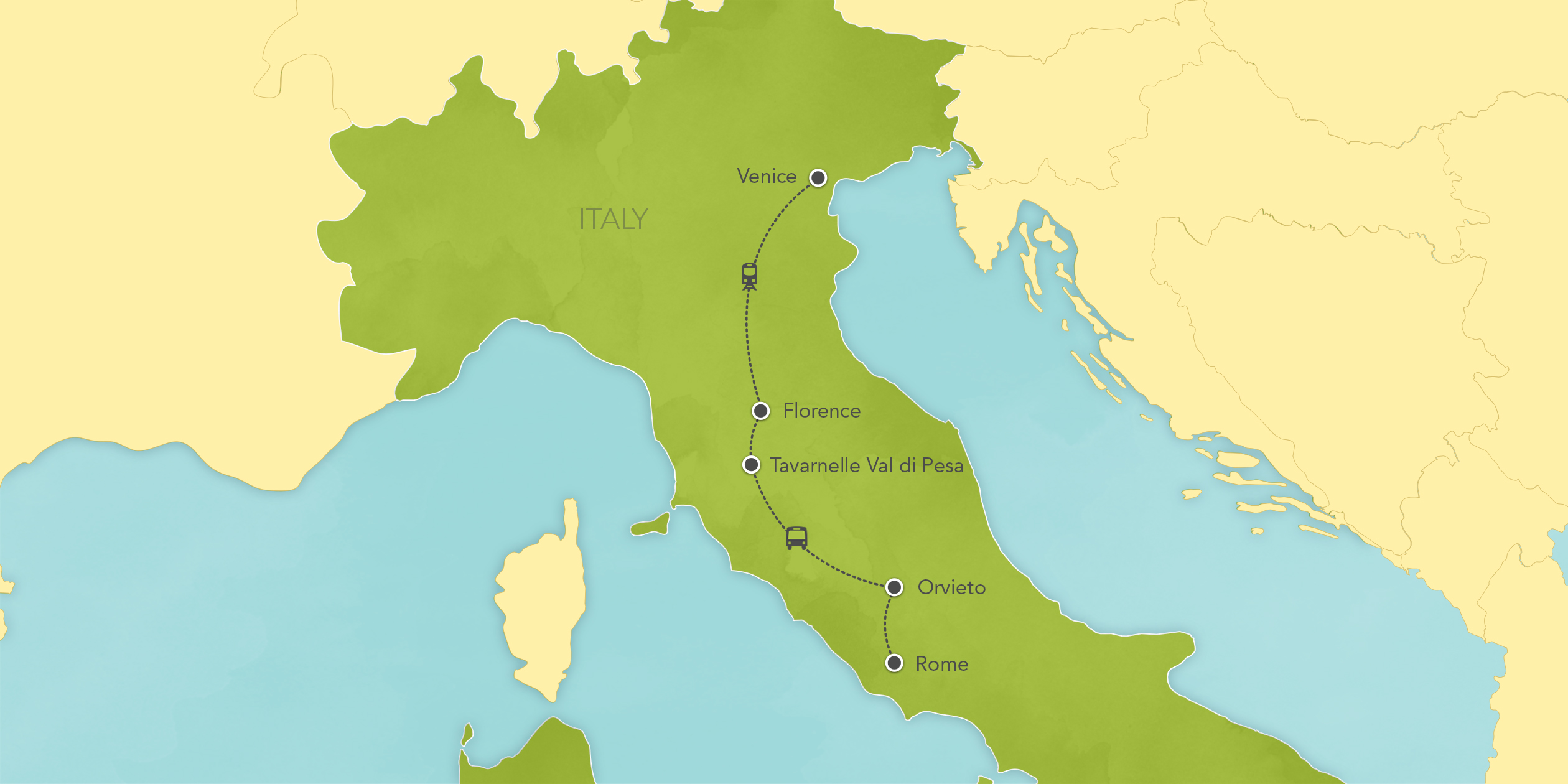 Map for Italy: Rome, Florence, Tuscany, Venice 2019