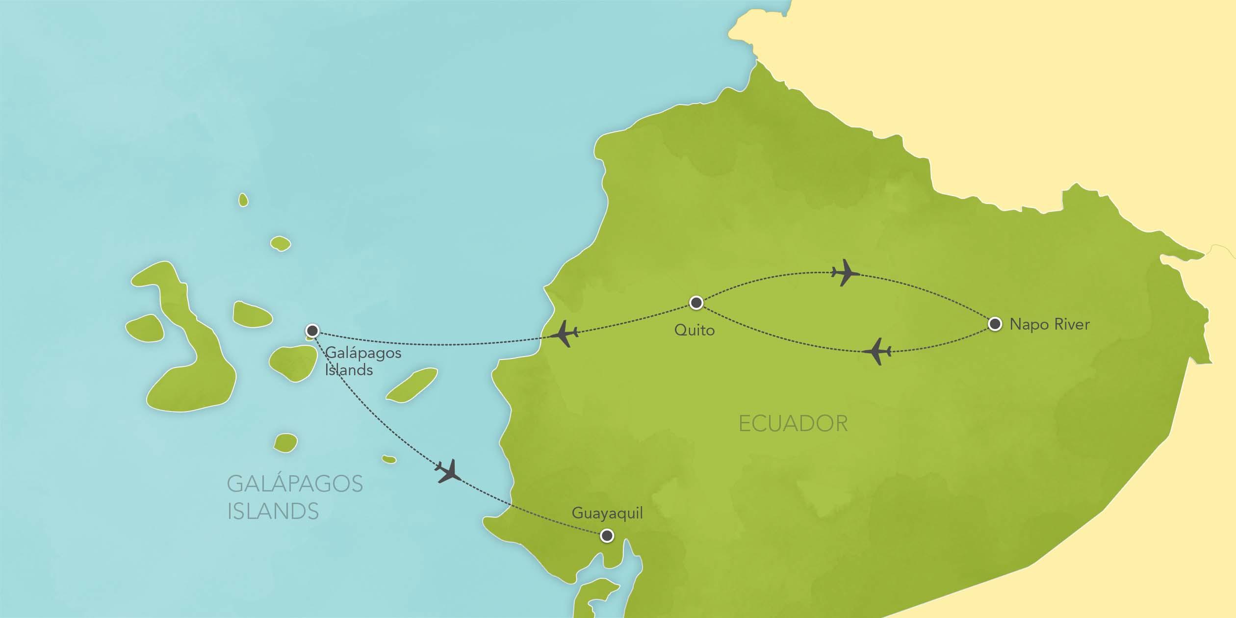 Itinerary map of Ecuador & Galápagos Islands: Quito, Yasuní National Park, Santa Cruz Island 2019