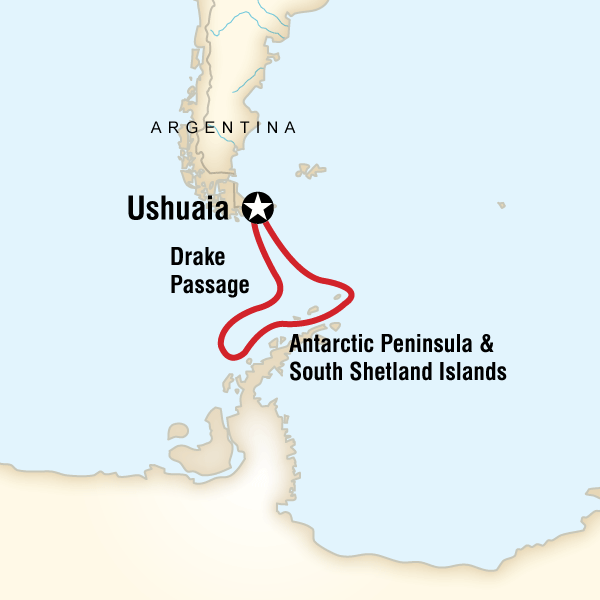 Itinerary map of Antarctica Classic