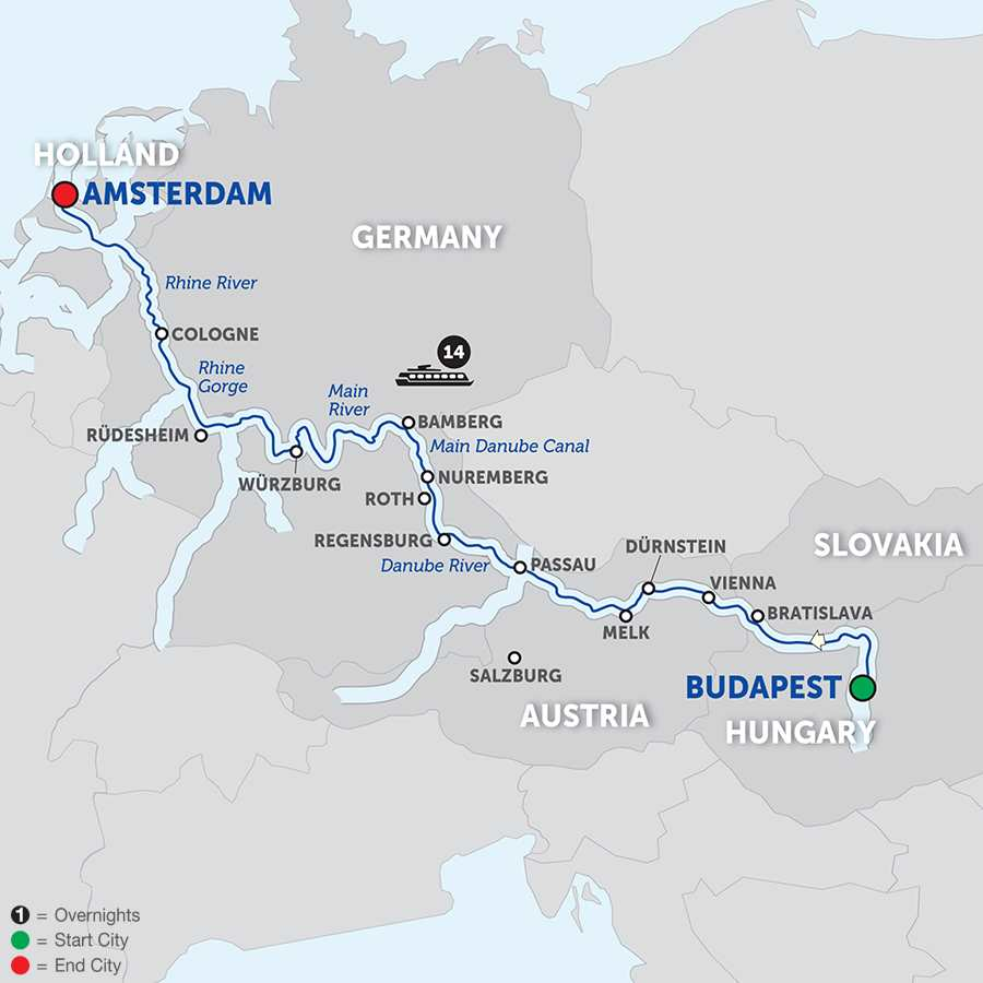 Itinerary map of Magnificent Europe - Westbound 2018 - 15 days from Budapest to Amsterdam