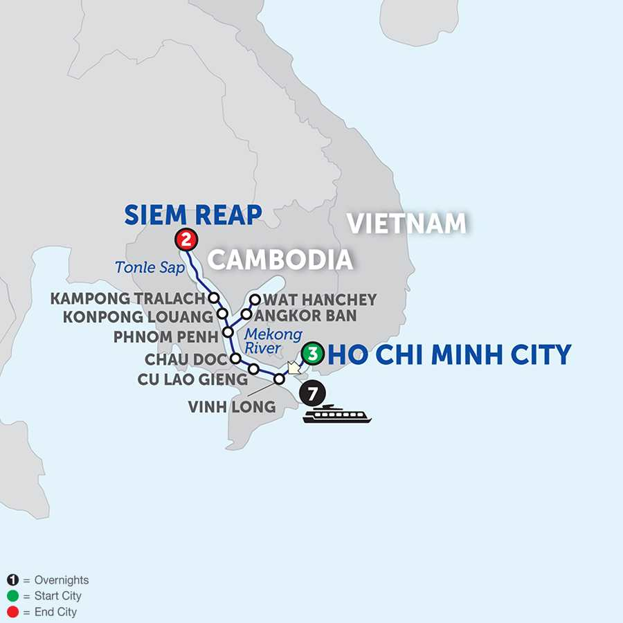 Itinerary map of Fascinating Vietnam, Cambodia & the Mekong River - Northbound 2018 - 13 days from Ho Chi Minh City to Siem Reap