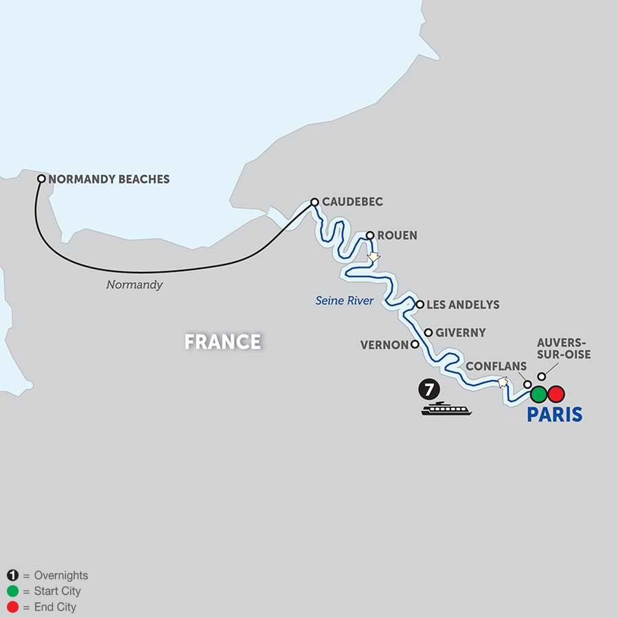 Itinerary map of Paris to Normandy 2018 - 8 days from Paris to Paris