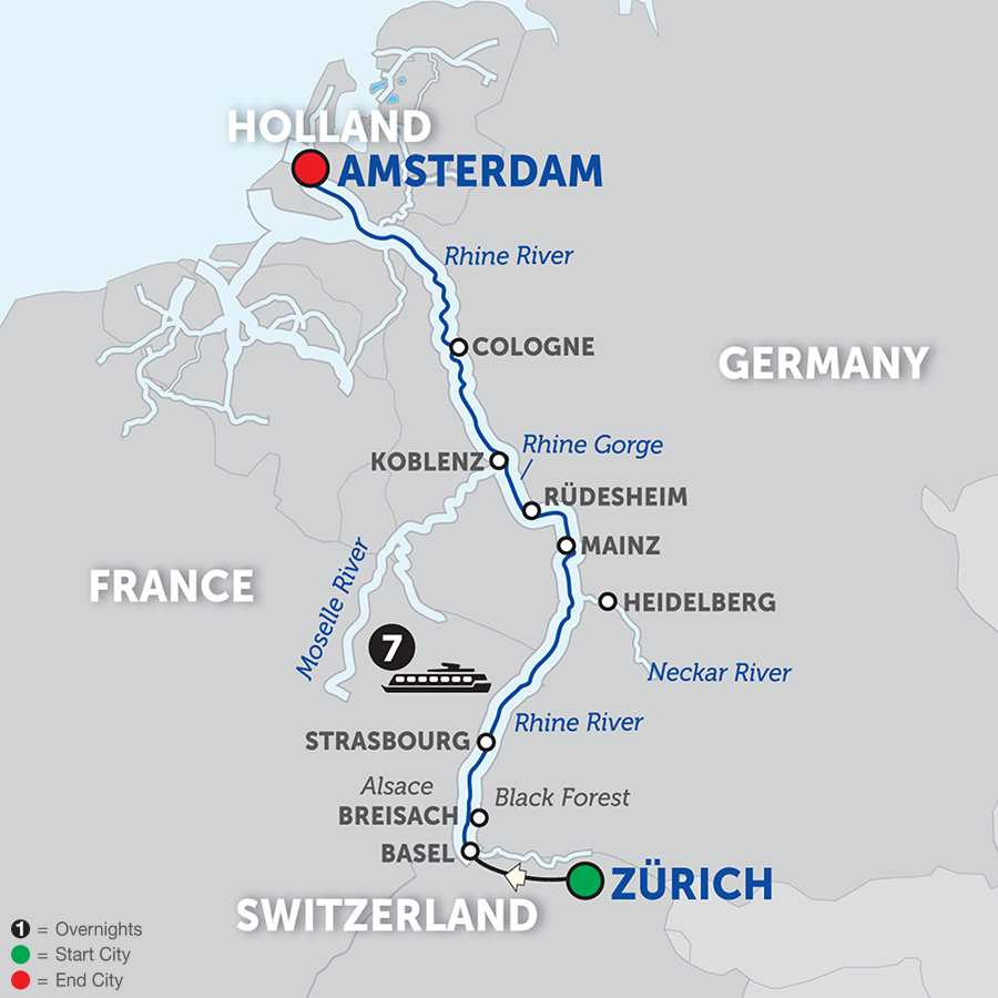 Itinerary map of Romantic Rhine - Northbound 2018 - 8 days from Zürich to Amsterdam
