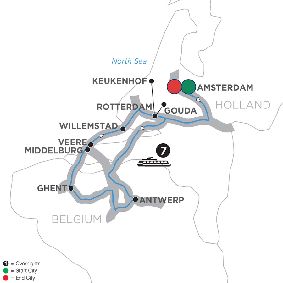 Itinerary map of Tulip Time Cruise 2019 - 8 days Amsterdam to Amsterdam