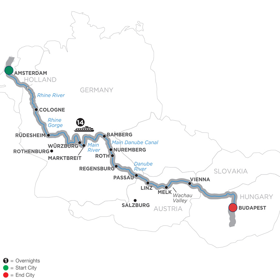 Map for Magnificent Europe – Eastbound 2019 - 15 days Amsterdam to Budapest