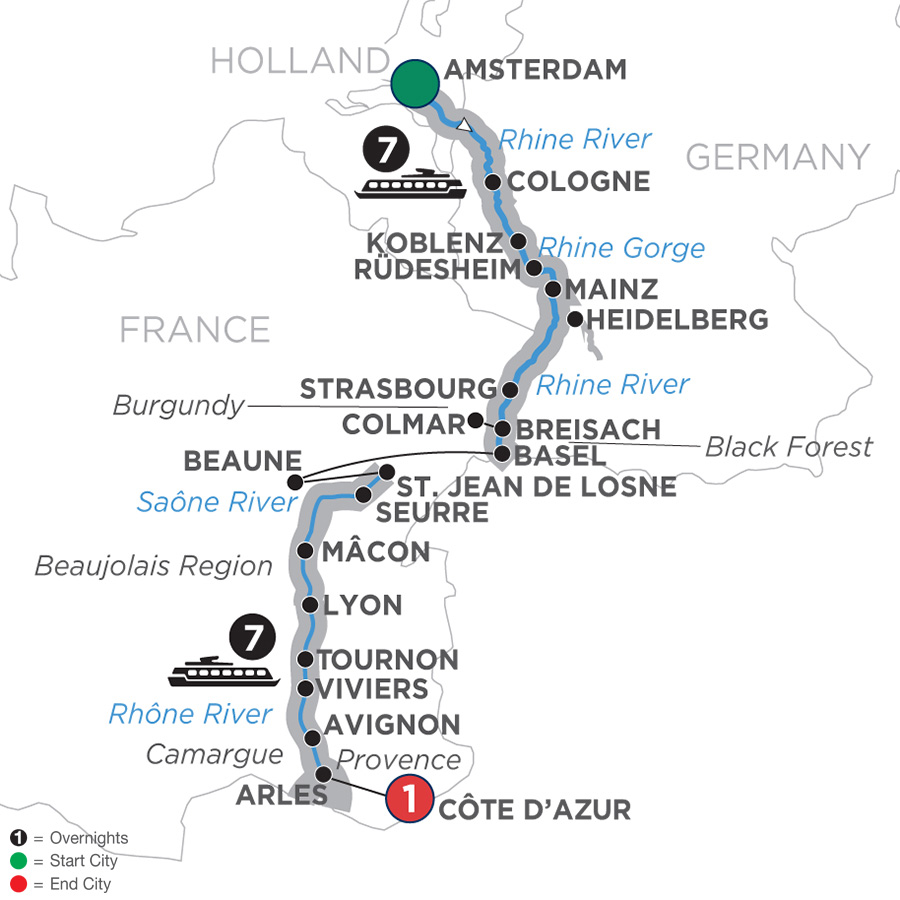 Itinerary map of Rhine & Rhône Revealed – Southbound 2019 - 16 days Amsterdam to Côte d'Azur