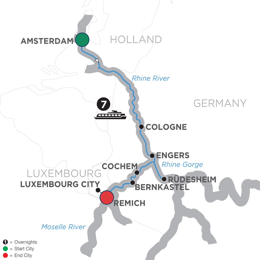 Itinerary map of Canals, Vineyards & Castles – Southbound 2019 - 8 days Amsterdam to Remich