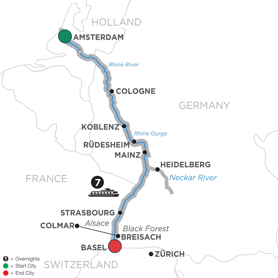 Map for Romantic Rhine – Southbound 2019 - 8 days Amsterdam to Basel