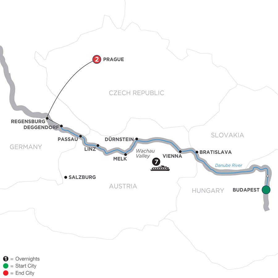 Map for Danube Dreams – Westbound 2019 - 10 days Budapest to Prague