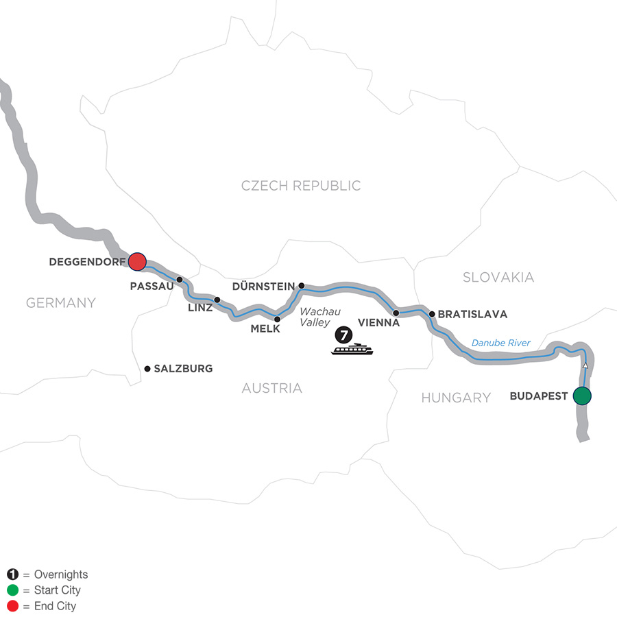 Itinerary map of Danube Dreams – Cruise Only Westbound 2019 - 8 days Budapest to Deggendorf