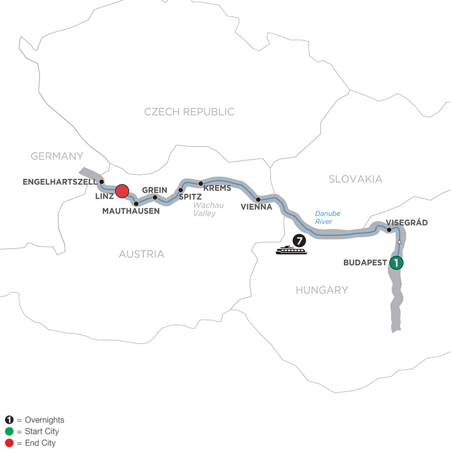 Itinerary map of Active Discovery on the Danube 2019 - 9 days Budapest to Linz