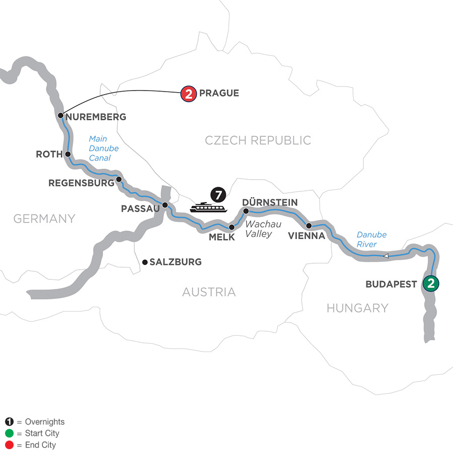 Itinerary map of The Blue Danube Discovery 2019 - 12 days Budapest to Prague
