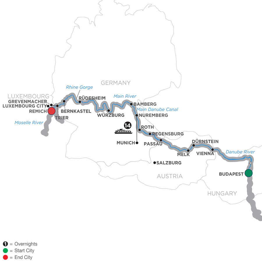 Itinerary map of Jewels of Central Europe - Cruise Only Westbound 2019 - 15 days Budapest to Remich
