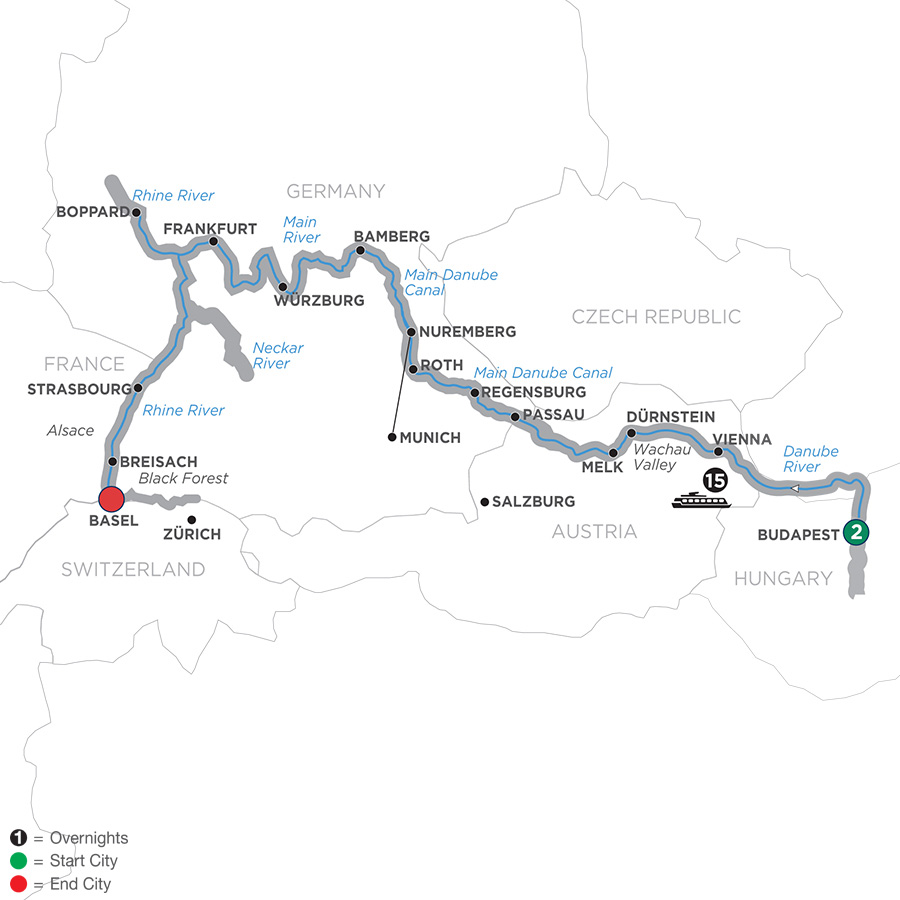 Itinerary map of Enchanted Europe – Westbound 2019 - 18 days Budapest to Basel