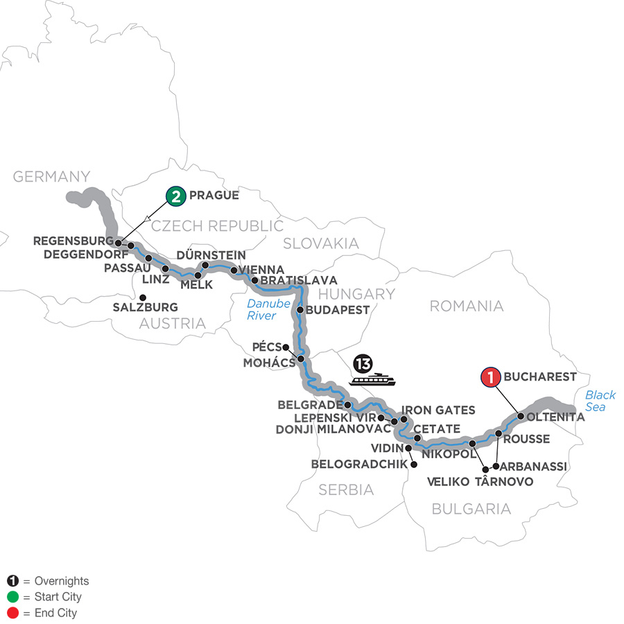 Itinerary map of Grand Danube Cruise 2019 - 17 days Prague to Bucharest