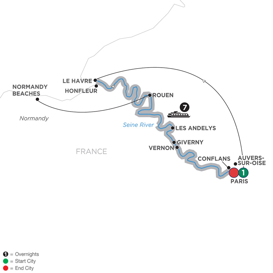 Itinerary map of Reflections on the Seine – Southbound 2019 - 9 days Paris to Paris