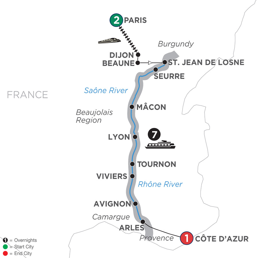 Map for Burgundy & Provence – Southbound 2019 - 11 days Paris to Cote d'Azur