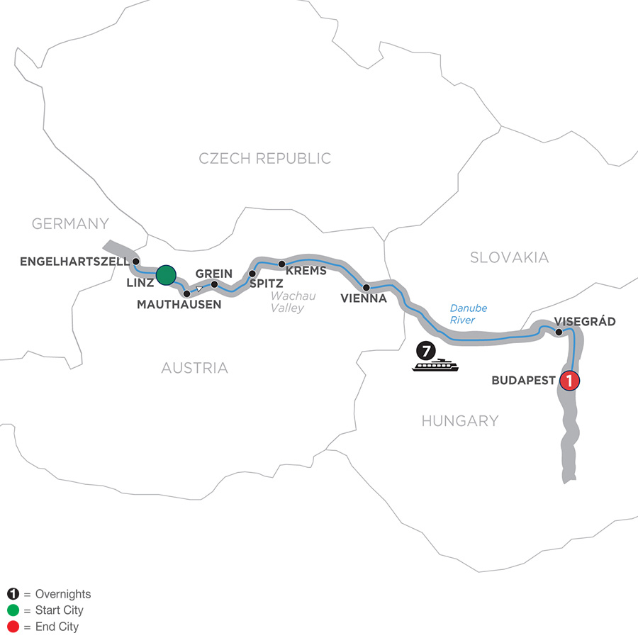 Map for Active & Discovery on the Danube – Eastbound 2019 - 9 days Linz to Budapest