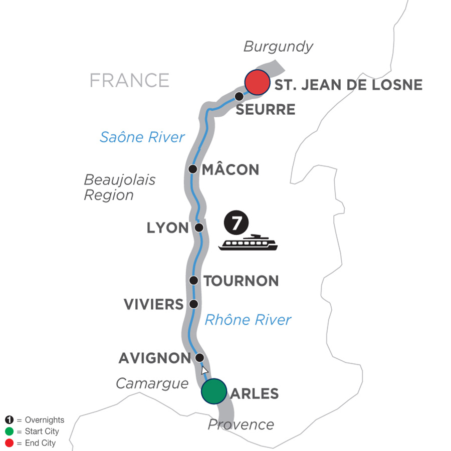 Itinerary map of Burgundy & Provence – Cruise Only Northbound 2019 - 8 days Arles to St. Jean-de-Losne