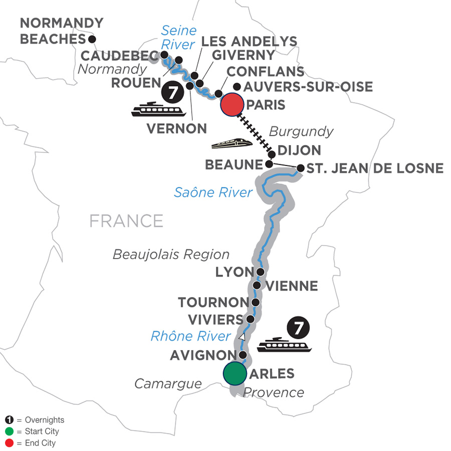 Itinerary map of Grand France - Cruise Only Northbound 2019 - 15 days Arles to Paris