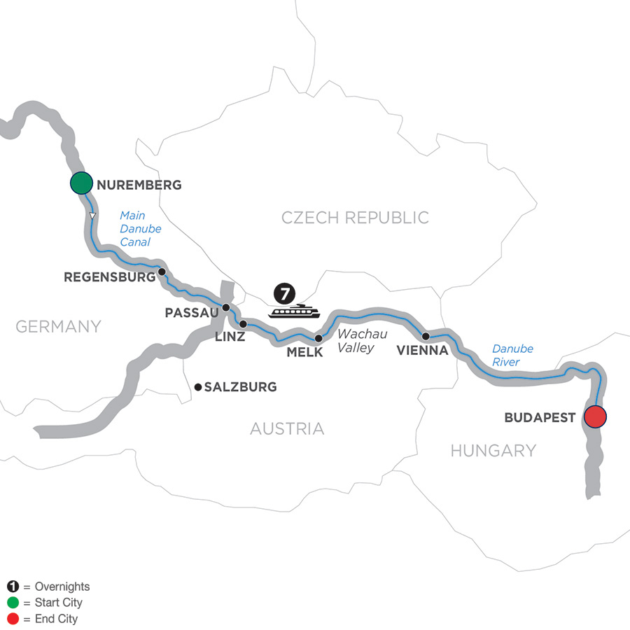 Itinerary map of The Legendary Danube – Cruise Only 2019 - 8 days Nuremberg to Budapest