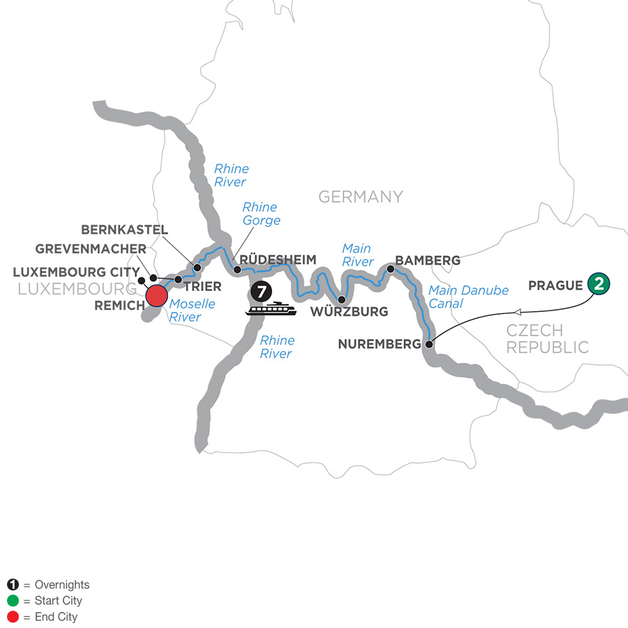 Itinerary map of Central European Experience – Westbound 2019 - 10 days Prague to Remich
