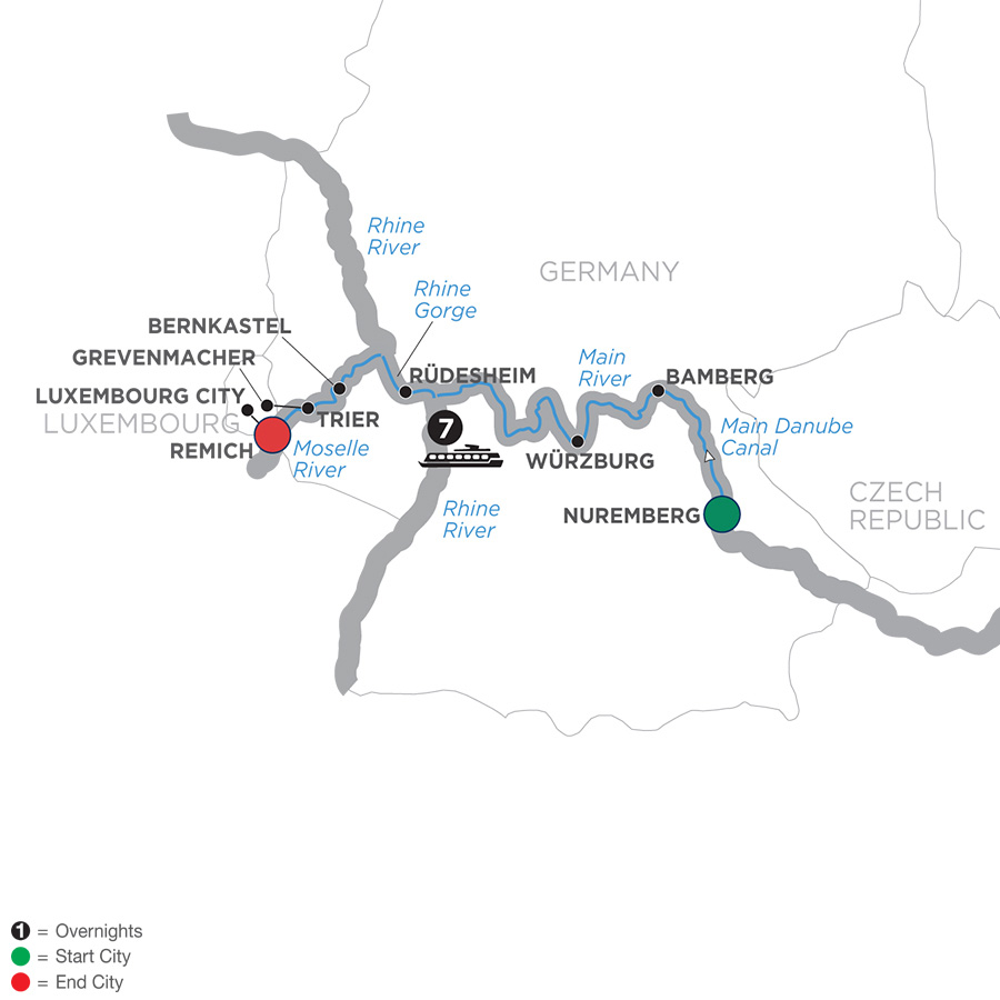 Itinerary map of Central European Experience – Cruise Only Westbound 2019 - 8 days Nuremberg to Remich