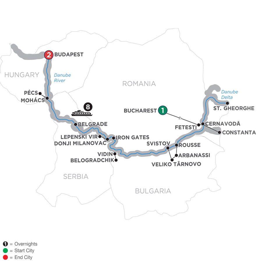 Itinerary map of The Danube from the Black Sea to Budapest – Westbound 2019 - 12 days Bucharest to Budapest