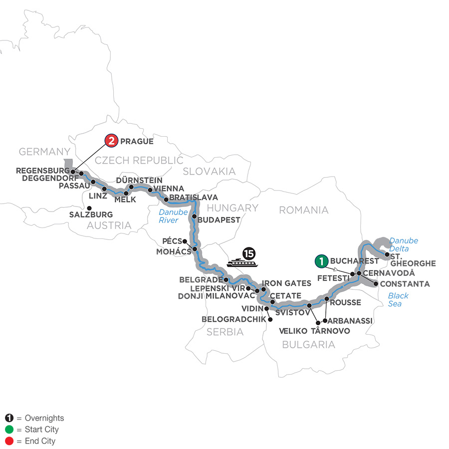 Itinerary map of From the Danube Delta to Prague 2019 - 19 days Bucharest to Prague