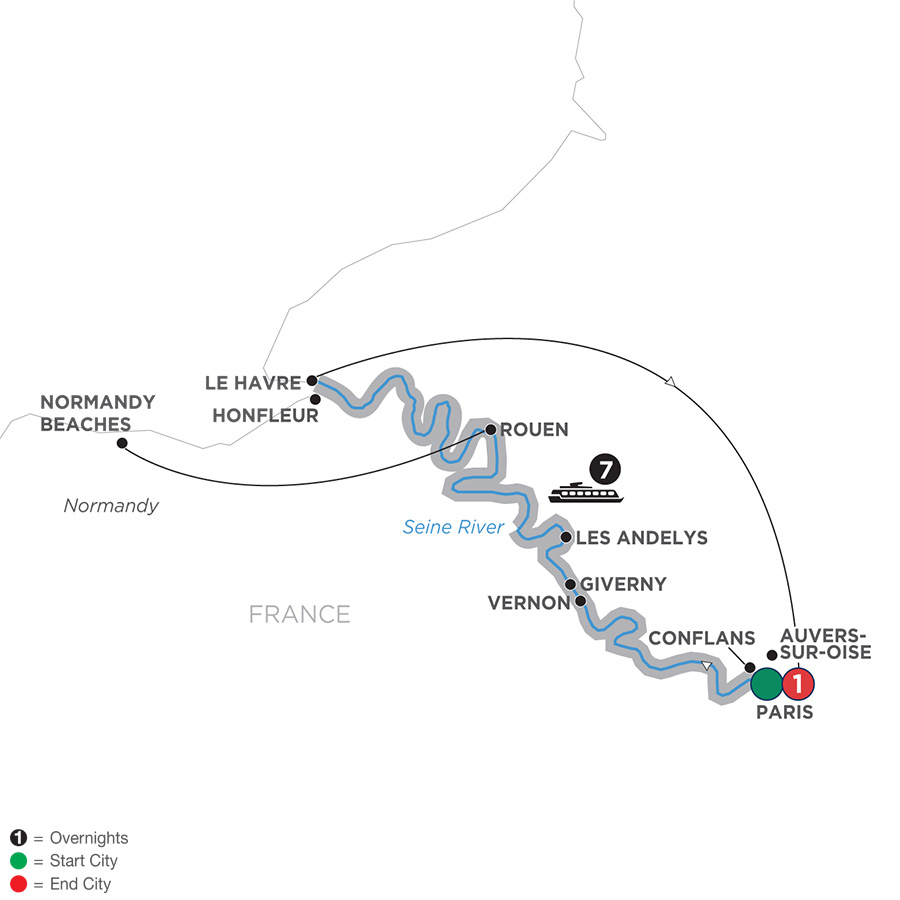 Itinerary map of Reflections on the Seine – Northbound 2019 - 9 days Paris to Paris