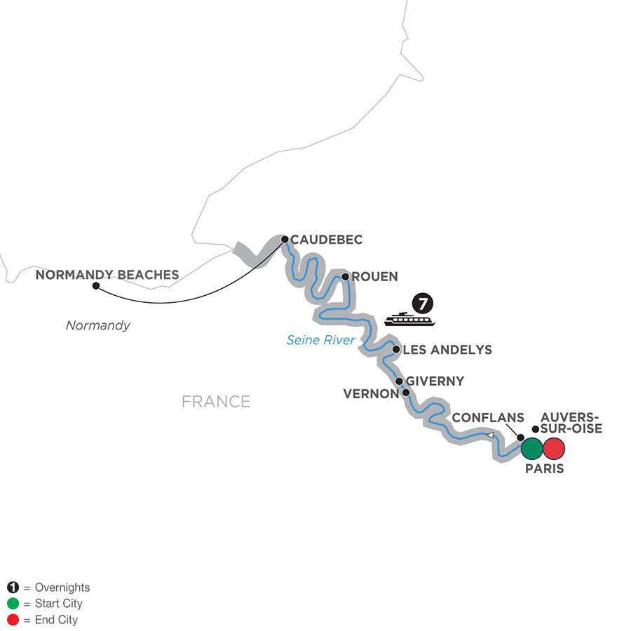 Map for Paris to Normandy 2019 - 8 days Paris to Paris