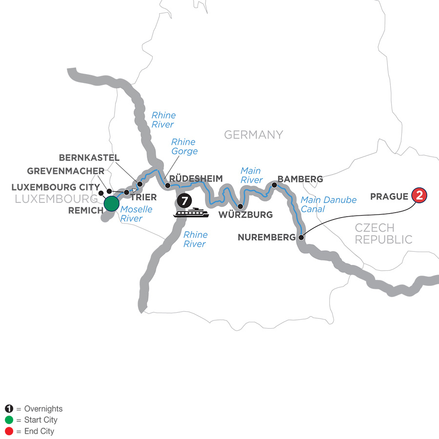 Map for Central European Experience – Eastbound 2019 - 10 days Remich to Prague