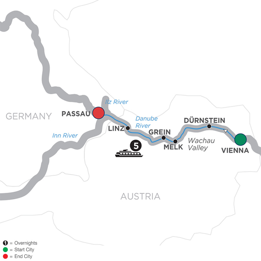 Itinerary map of Danube Symphony - Cruise Only Westbound 2019 - 6 days Vienna to Passau